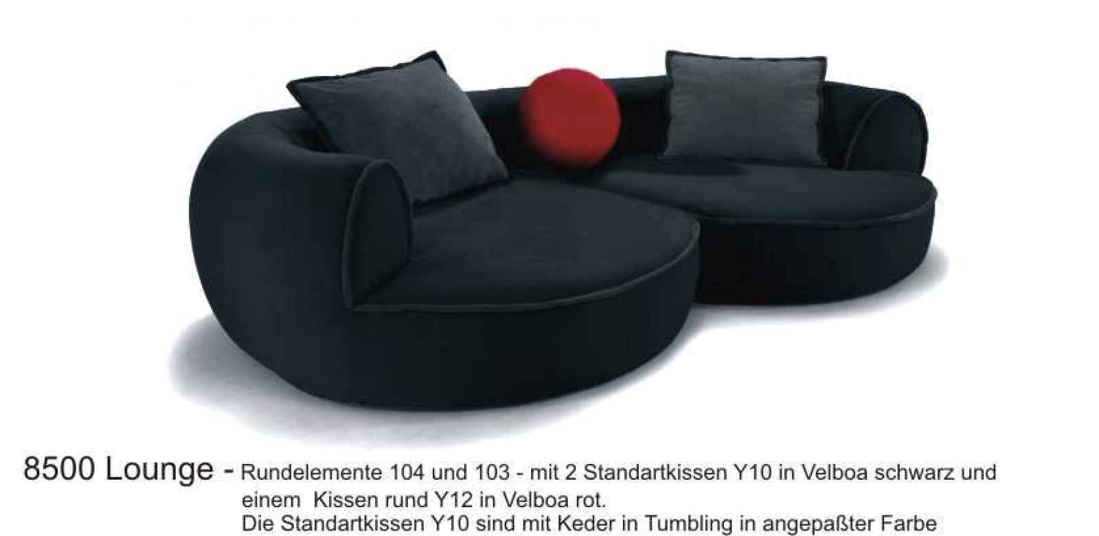 runde couch 8500 sofa garnitur lounge the lounge company. Black Bedroom Furniture Sets. Home Design Ideas